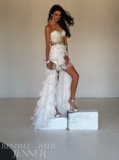 kendall jenner,kendall and kylie jenner,gold,style,sherri hill,prom dress,prom,hoop earrings,white dress,bag,jewels,shoes