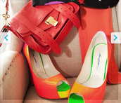 shoes,purse,colorful,bright,dip dyed,tie dye,open toes