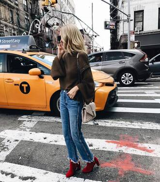 shoes boots red boots denim jeans blue jeans sweater bell sleeve sweater fall outfits