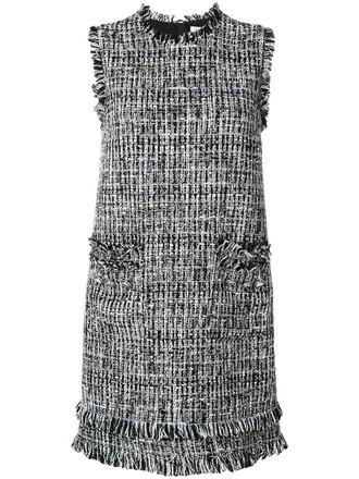 dress shift dress embroidered women cotton black silk wool