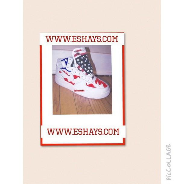 the best attitude 6903d 02f8a shoes custom american flag nike air force ones- mid tops nike custom nike  american flag