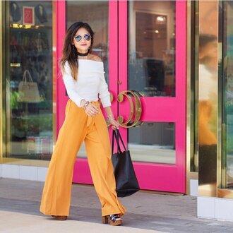 pants wide-leg pants yellow yellow pants sandals sandal heels high heel sandals top white top off the shoulder off the shoulder top sunglasses choker necklace black choker