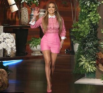 blouse lace top lace pink shorts pumps jennifer lopez