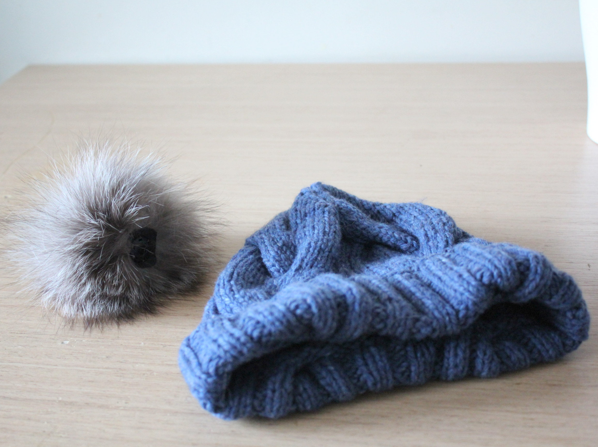 Denim Blue cashmere and wool cable knit hat with fox fur pom pom, Detachable pom pom, Chunky knit hat