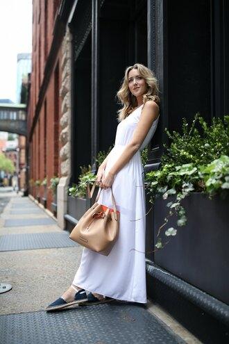 memorandum blogger dress shoes bag bucket bag espadrilles white dress maxi dress spring outfits