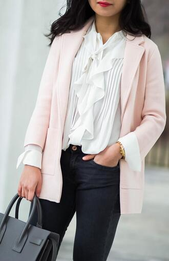 fastfood&fastfashion blogger coat sweater jacket blouse bag jeans shoes blazer pink jacket