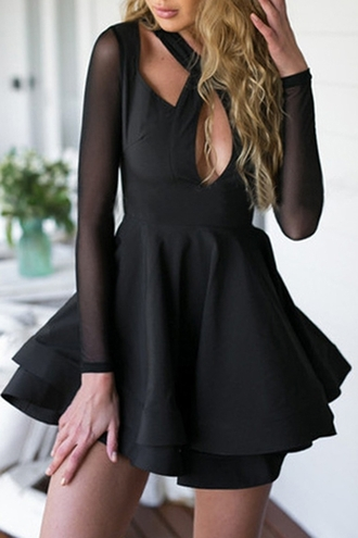dress black dress black little black dress skater dress backless cute cute dress cute outfits lookbook sexy strappy party dressy trendy fashion style cleavage short dress see through long sleeves criss cross