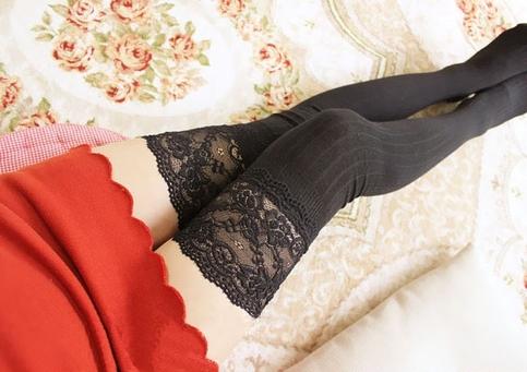 Knit stripe lace over knee high socks