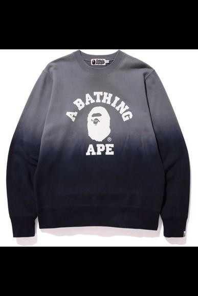 ombre sweater faded bape fade crewneck menswear mens sweater