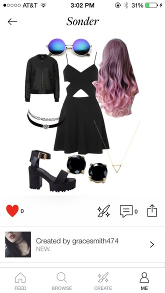 dress grunge black heals studs earrings jewelry gold necklace triangle illuminati chain open back slit spaghetti strap leather leather jacket pale pink colored colored hair pink hair tumblr slit dress shoes jacket