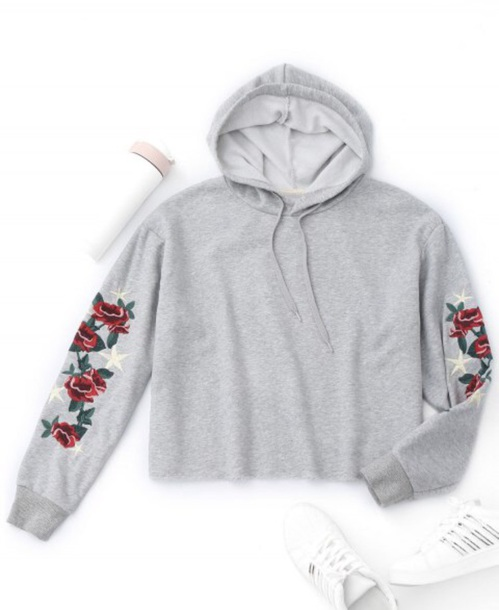 sweater embroidered girly grey grey sweater hoodie floral crop cropped sweater