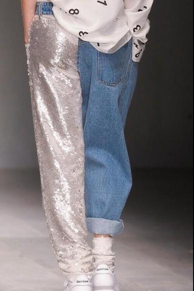 runway jeans sequins