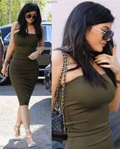 dress,kylie jenner,green dress,bodycon dress
