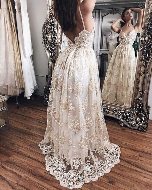 Dress bridal dresses lace dress gold white black for White and gold lace wedding dress