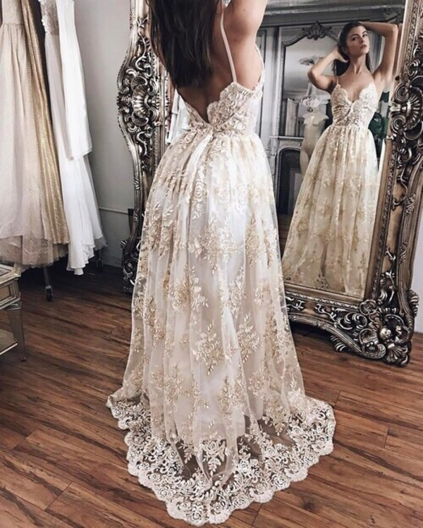 dress bridal dresses lace dress gold white black dress prom dress white dress cream lacey prom embroidered gown lace floral v neck floral dress v neck dress