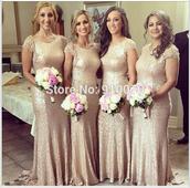 dress,bridesmaid dress long,bridesmaid dress cheap,wedding party dress,sequins prom dress,champange bridesmaid dress