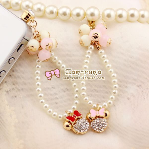 Pearl bow MICKEY for iphone for samsung dust plugs earphones hole-inDust Plug from Electronics on Aliexpress.com