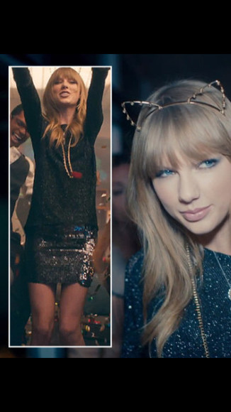 taylor swift blouse sequin skirt hair accessories