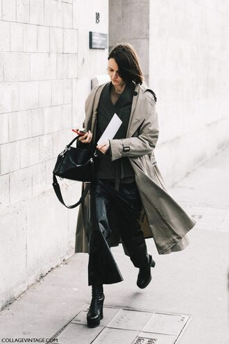 coat tumblr grey coat grey trench coat trench coat cardigan black cardigan pants black pants vinyl black vinyl pants flare pants cropped pants boots black boots ankle boots bag black bag fashion week 2017 streetstyle gender neutral