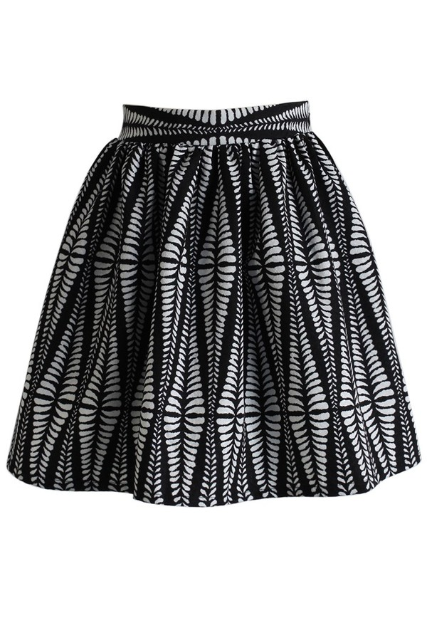skirt chicwish leaf embossed mini skirt