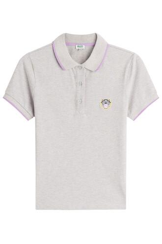 shirt polo shirt cotton grey top