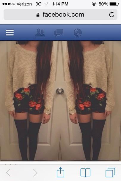 shorts black floral rose pink orange beige sweater socks thigh highs shoes