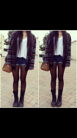 tights top sweater knit sweater black leather boots shoes jacket aztec cardigan