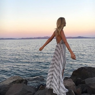 dress cross back maxi maxi dress striped dress stripes striped maxi cross back dress black and white aztec boho chic boho chic auguste backless dress