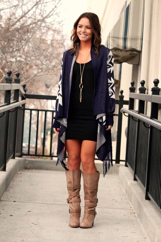 fringes boots cardigan little black dress oversized sweater aztec sweater oversized cardigan