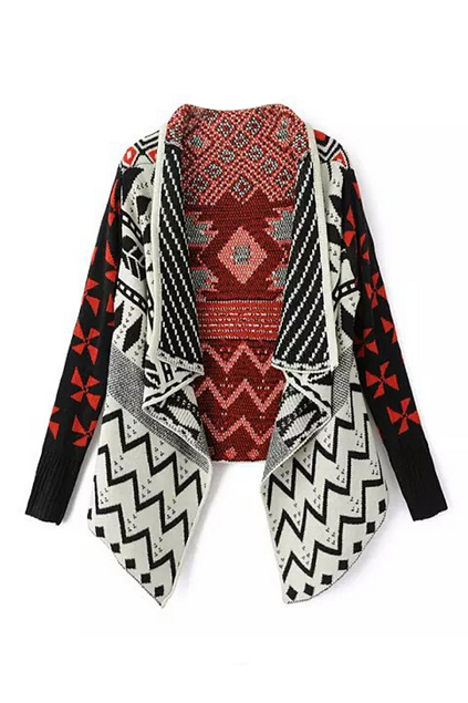 ROMWE | Tribal Patterns Asymmetric Knitted Cardigan, The Latest Street Fashion