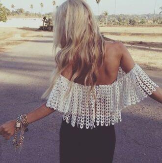 shirt boho tank top white lace blouse carmen beautiful summer crochet crop tops off the shoulder
