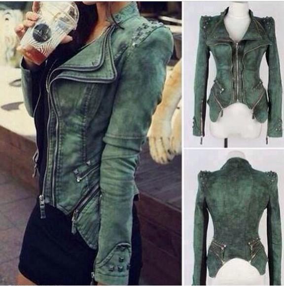jacket zippers green green jacket cute weird jeanjacket