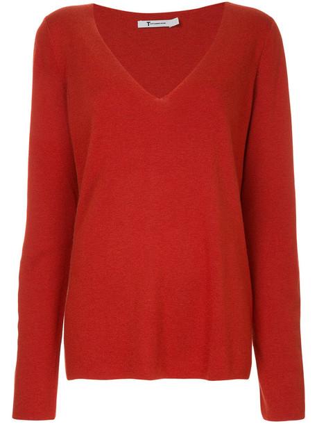 T By Alexander Wang - v-neck jumper - women - Silk/Nylon/Viscose/Wool - M, Red, Silk/Nylon/Viscose/Wool