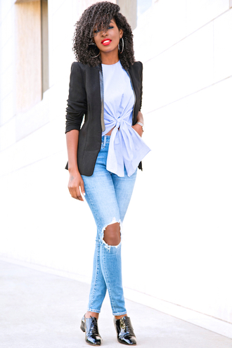 blogger jacket top jeans shoes
