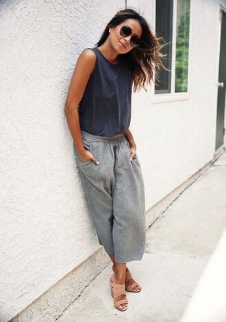 shoes suede mule mules pink shoes pants grey pants wide-leg pants top grey top summer outfits sunglasses sincerely jules top blogger lifestyle blogger tumblr cropped pants sleeveless blue top aviator sunglasses
