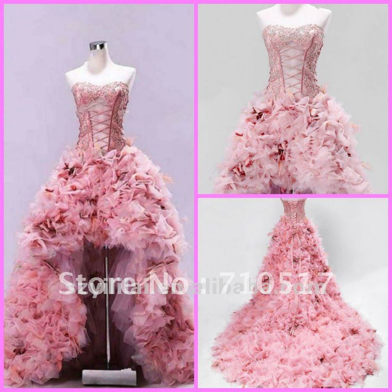2012 New Style Extravagant Pink Front Short and Long Back feather Wedding Dress-in Wedding Dresses from Apparel & Accessories on Aliexpress.com