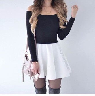 skirt skater skirt white black top boots tights hair black top black shirt crop tops off the shoulder long sleeves white skirt thigh high boots black tights blonde hair knitwear knitted crop top outfit outfit idea shirt