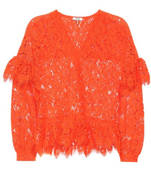 Ganni Jerome lace top in red