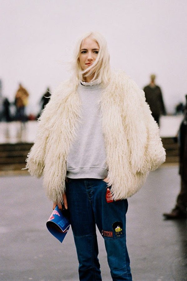 vanessa jackman blogger jacket jeans white fur coat patched denim patch sweatshirt grey sweater blue jeans fur coat winter coat streetstyle white fur jacket