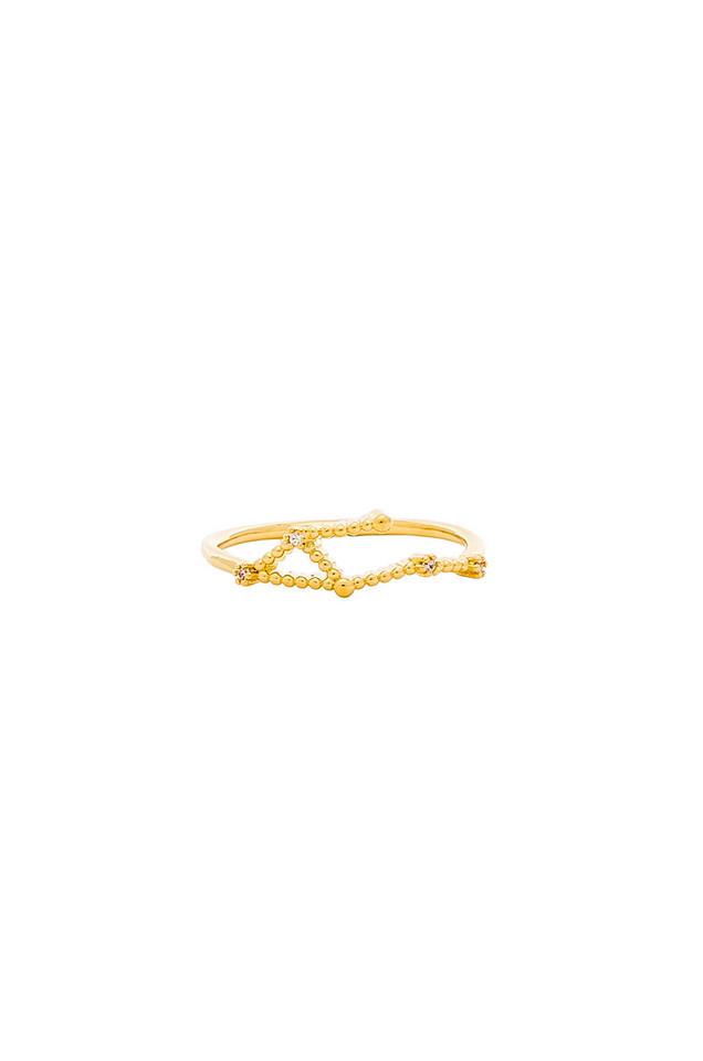 Wanderlust + Co Libra Zodiac Ring in gold / metallic
