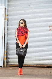 wearing fashion fluently,blogger,strappy sandals,red scarf,orange,mulberry,satchel bag
