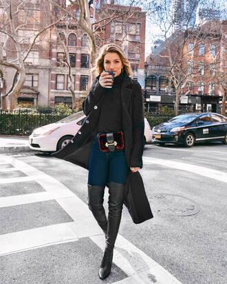 coat tumblr black coat denim jeans blue jeans boots black boots over the knee boots over the knee turtleneck turtleneck sweater bag red bag