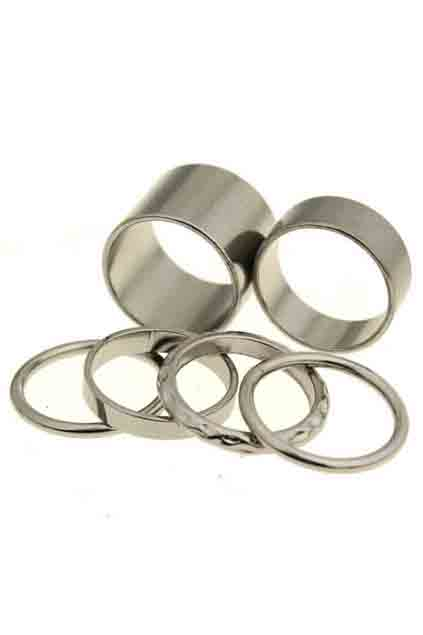 ROMWE | Multipack Circular Silver Ring, The Latest Street Fashion