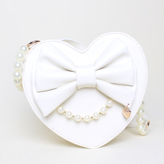 bag heart bow cute girly fashion style kawaii pearl lolita gyaru