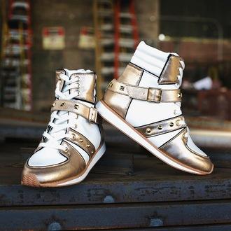 shoes qupid zooshoo zooshoo shoes zooshoo sneakers sneakers high top sneakers gold sneakers qupid shoes lace up sneakers white and gold gold and white