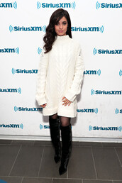 dress,sweater dress,winter sweater,winter outfits,boots,camila cabello