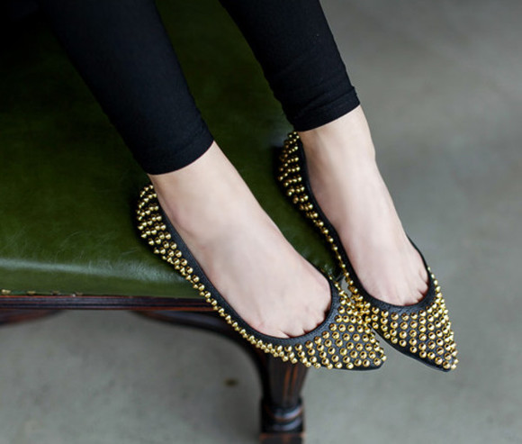 black shoes studded flats summer spring 2014