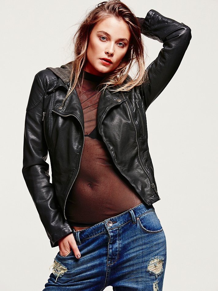 Free People Vegan Leather Hooded Motorcycle Jacket