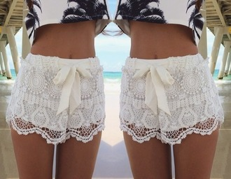 shorts lace white crochet floral cute palm summer palm trees print design vogue chanel girly brown bottum crop tops shirt vintage hipster grunge boho bohemian top