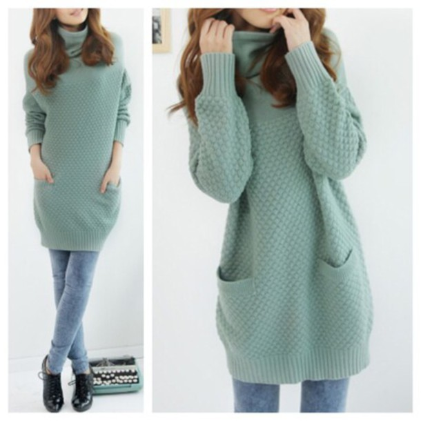 Sweater: cute, dress, green dress, fall outfits, fashion, kawaii ...